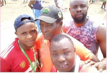A sports' Veteran Mr. Ajibarade Bello, celebrating with the athletes